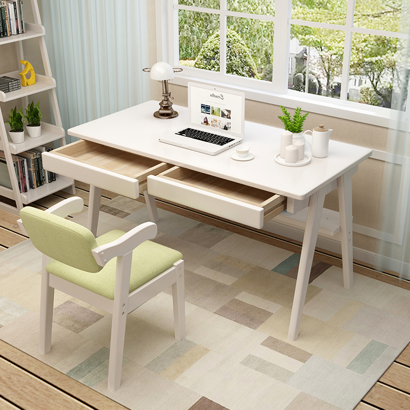 Simple Style Household Computer Table Student Study Desk Multifunction Table and Chair Set Wooden Stable Office Desk with Drawer
