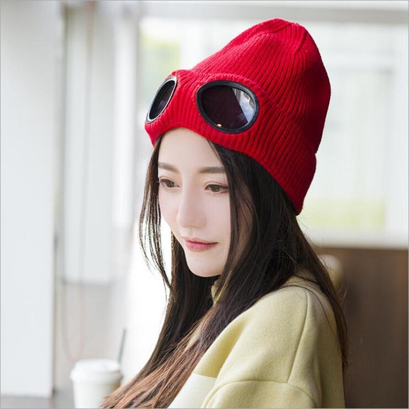 Double-use Thickened Winter Knitted Hat Warm   Beanies     Skullies   Ski Cap with Removable Glasses for Men Women