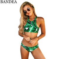 BANDEA 2017 Sexy High Neck Bikini Swimwear Women Swimsuit Brazilian Bikini Set Green Print Beach Wear