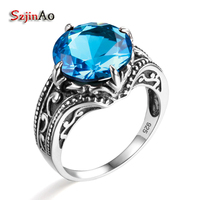 Szjinao Solid 925 Sterling Silver Ring Vintage Wedding For Women Luxury Antique Blue Topaz Indian Jewelry Wholesale aneis