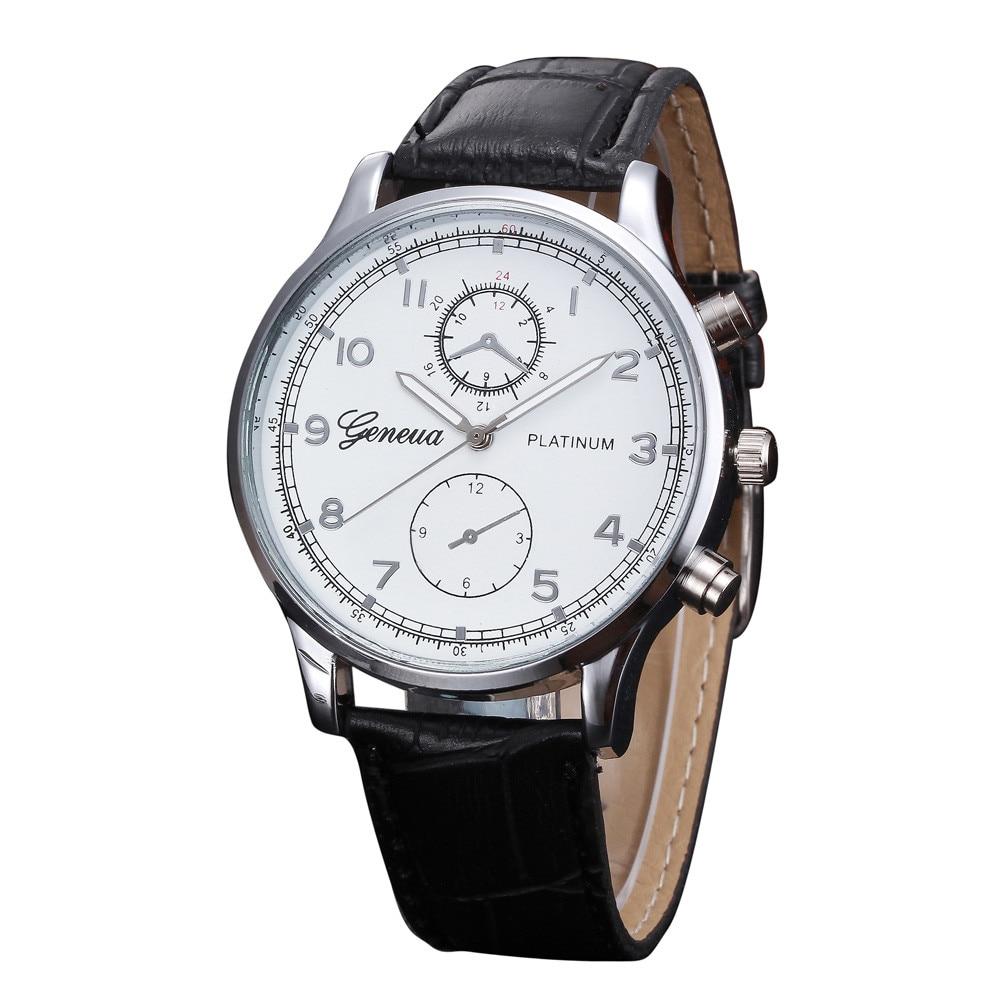 Geneva watches mens retro design leather band analog alloy quartz wrist watch relogio masculino for Watches geneva