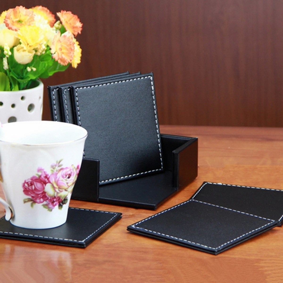 6pcs/lot Wholesale Price New Arrival <font><b>Double</b></font> <font><b>Deck</b></font> Black <font><b>Leather</b></font> Placemat <font><b>Coasters</b></font> of <font><b>Cup</b></font> Mat Pad <font><b>PU</b></font> <font><b>Leather</b></font> For Home Decoration