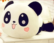 small lovely plush lying panda toy cute smile panda doll with hearts on face gift about 35cm