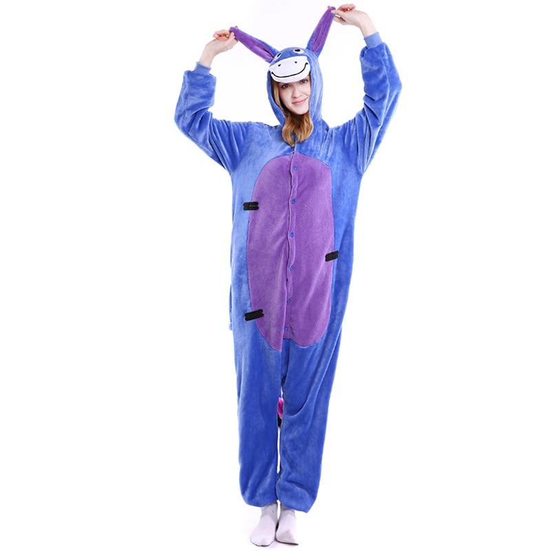 2018 New Wholesale Donkey Unisex Adults Flannel Hooded Pajamas Cartoon Cute Animal Onesi ...