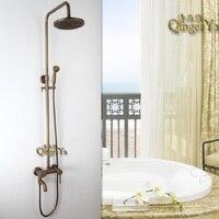 Antik Bakır Duş Set Fonksiyonlu Duş Musluk Pirinç Krom Sabit Dönebilir Duş Seti Banyo Aksesuarları Set
