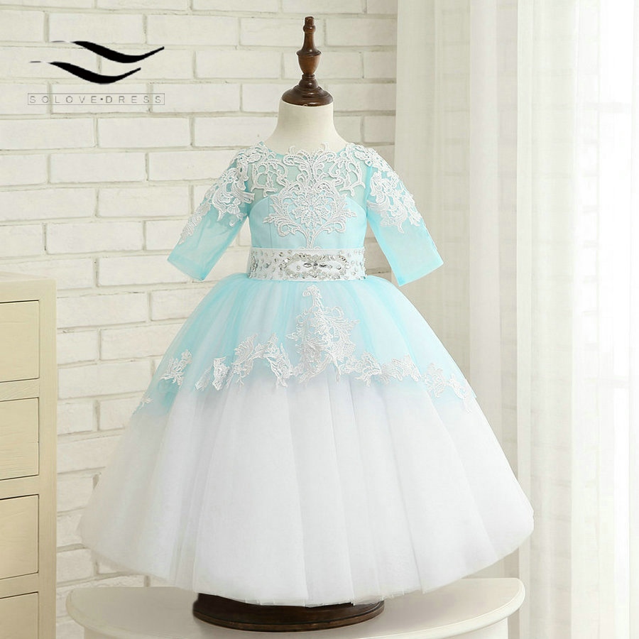 O-Neck Tulle Ball Gown For Baby Children Applique Princess   Flower     girl     Dresses   Kids Formal Wedding Party Christening GownSL-F211