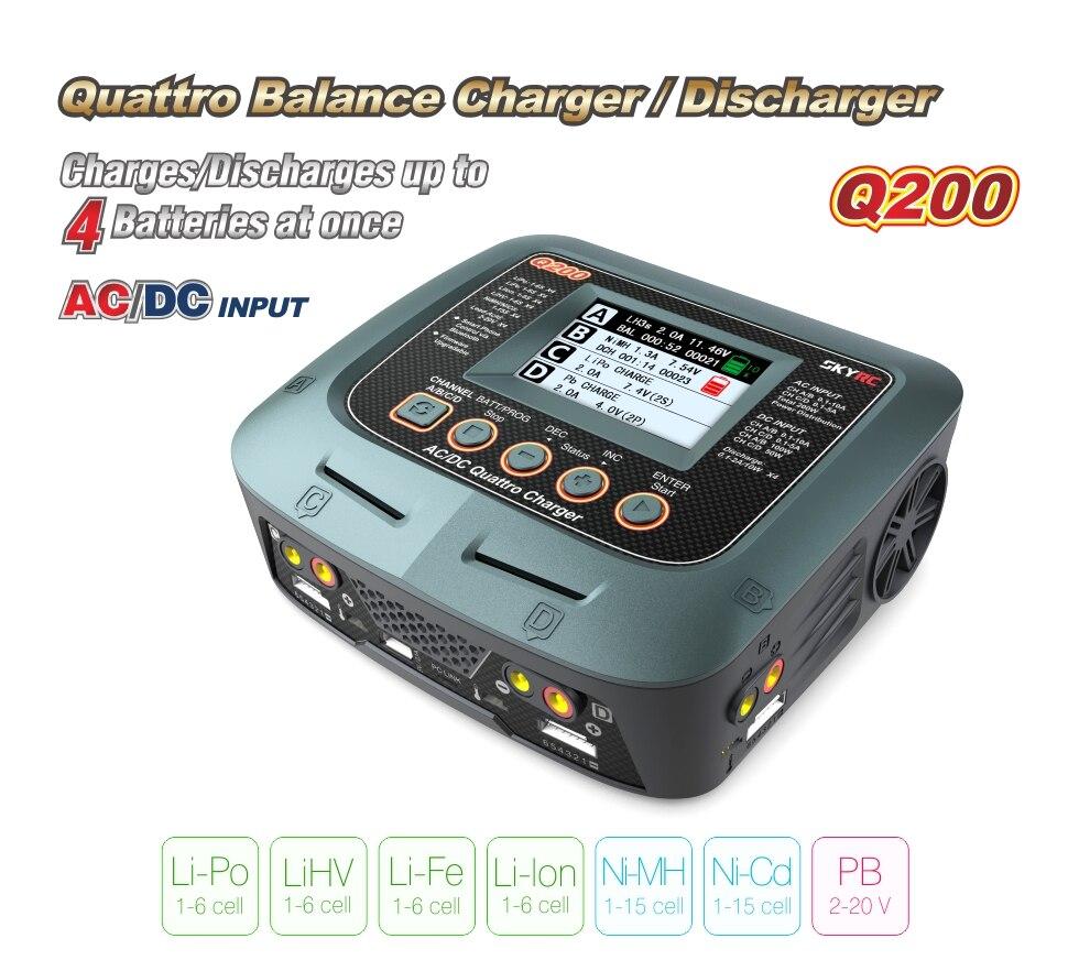 Chargeur intelligent SKYRC Q200/chargeur d'équilibrage de Drone AC/DC pour Lipo/LiHV/Lithium-fer/Ion/NiMH/NiCD/batterie au plomb