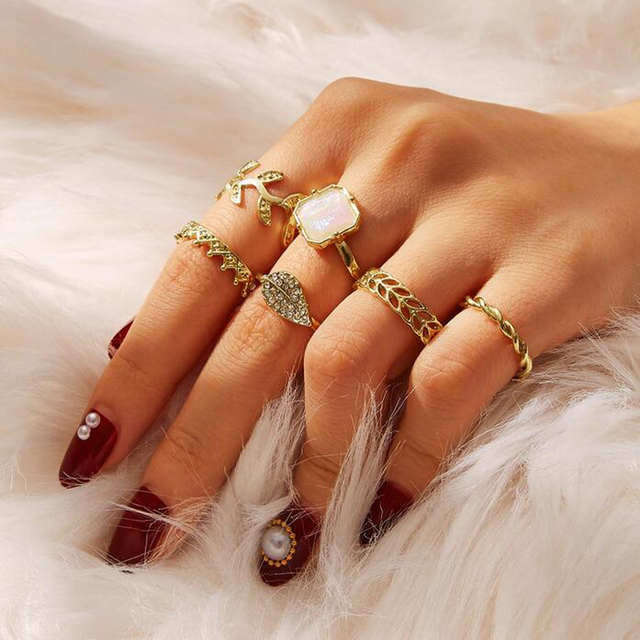 Bohemian Style Crown, Leaf & Opal Finger Rings Set (6pcs/set)