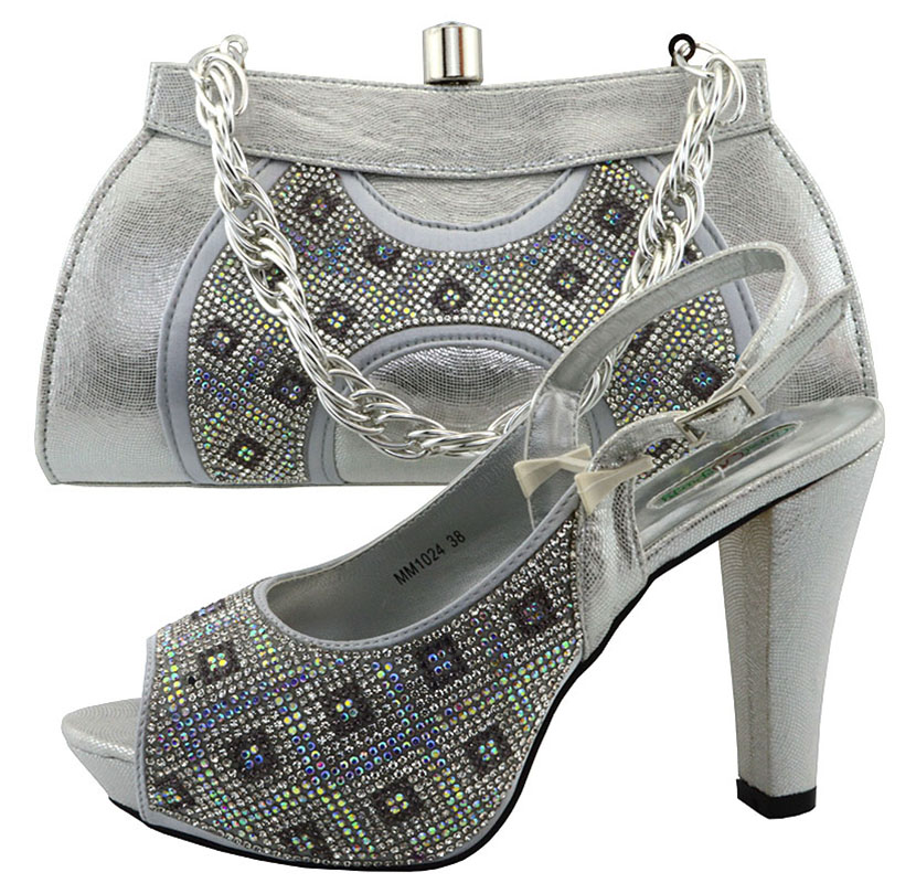 ФОТО New Italy Shoes and Bag Women Sliver Color African Women Matching Italian Shoe and Bag Set Nigerian Shoe and Bag Set MM1024