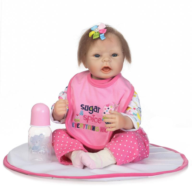52cm Handmade Bebe Reborn Baby Doll Silicone Vinyl Lifelike Kids Playmates Girl Pink Princess Doll Children Birthday Gifts pink wool coat doll clothes with belt for 18 american girl doll
