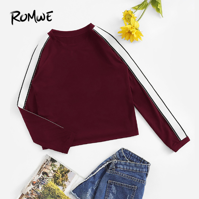 878f0405 ROMWE Burgundy Striped Tape Sleeve Tee Casual Round Neck Long Sleeve T Shirt  Women Autumn Ladies Clothing Spring Tops
