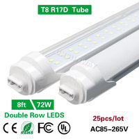 Super Bright Double Row 8ft T8 R17D 2.4m Led Tube SMD 2835 Led Tube Bulb T8 2400mm 72W Replace To Fluoresecent Light 25Pcs