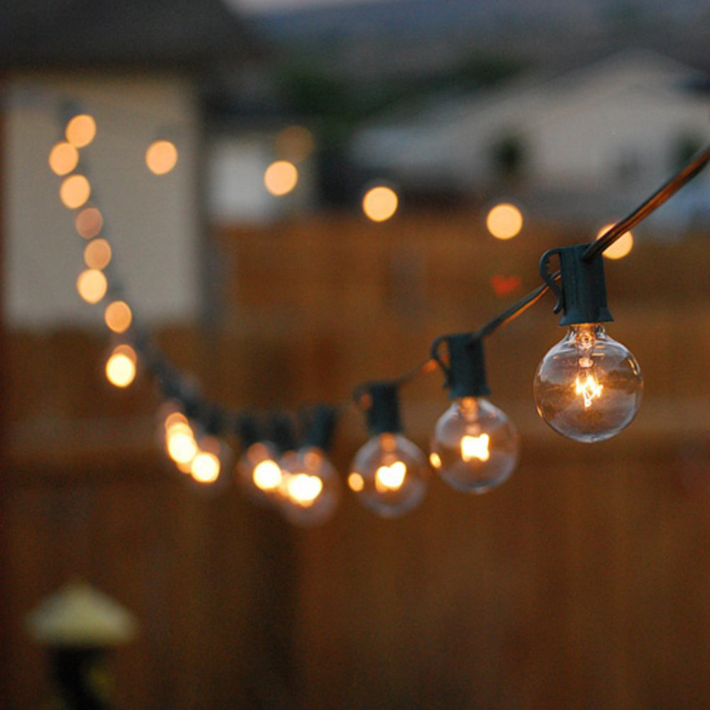 Us 98 8 5 Off Ce Ul Certification Globe String Lights With 25 G40 Bulbs Holiday Christmas Festival Party Wedding Garden Black In