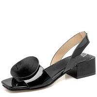 Elegant Lady's Sandals Creative Geometric Decoration Large Size 40 43 Mid Heel Shoes Convenient Slip on Vogue Women's Shoes Lady