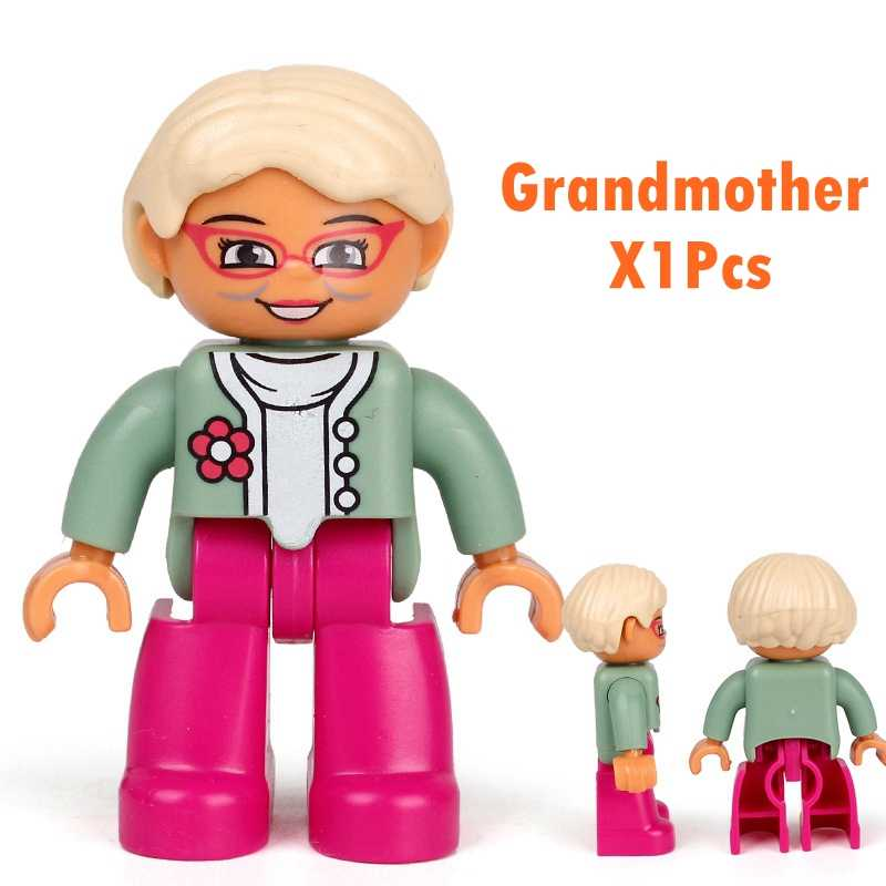 1 pz Duplo Blocks Action Figures famiglia lavoro polizia Building Block compatibile con giocattoli educativi Duploed per bambini bambino