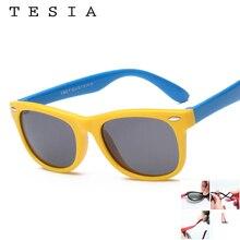 TESIA Quality Kids Sunglasses Girls Boys Polarized Sun Glasses Flexible Slicone Eyewear Frames Square Rivet Oculos Infantil S802