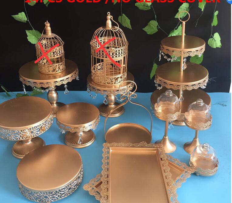 12 stuks 1 set blue & gold & roze kleur cake stand set-in Standaarden van Huis & Tuin op  Groep 1
