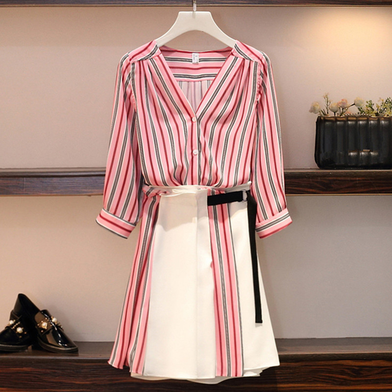 Plus size L-4XL Women Casual Skirt 2 Piece set Striped V-neck Single Breasted Shirt and Patchwork Skirt Suits Work Wear