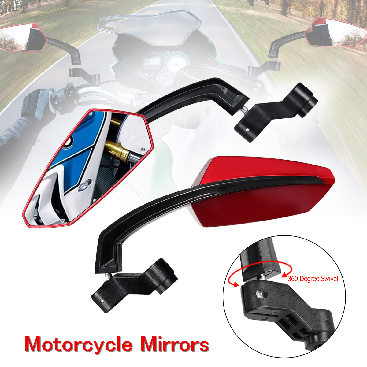 2 pcs Motorcycle Big Bar End Rearview Side Mirrors 8mm 10mm for Honda Yamaha KTM