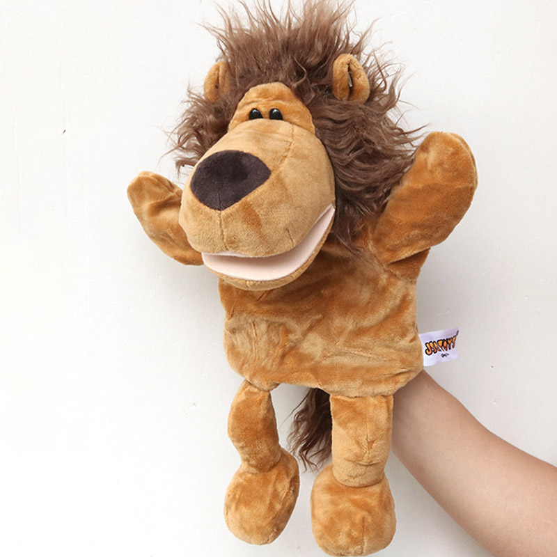 30CM Cartoon Animal Hand Puppet Lion Infant Finger Plush Toy Child Parent-child Storytelling Props For Baby Gifts