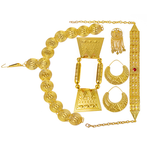 Image 4 - Ethlyn 2019 Latest Gold Color Red Stone Women Eritrean Ethiopian Traditional Wedding Jewelry Sets S112C