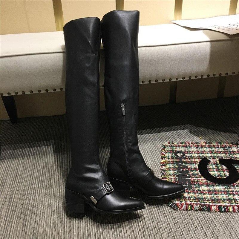 Zipper Black Bottes Cuir En Genou Chunky Le Sur Point Toe Talon Noir Carré Femmes Concise Bouclée De Moto ICqwTTX