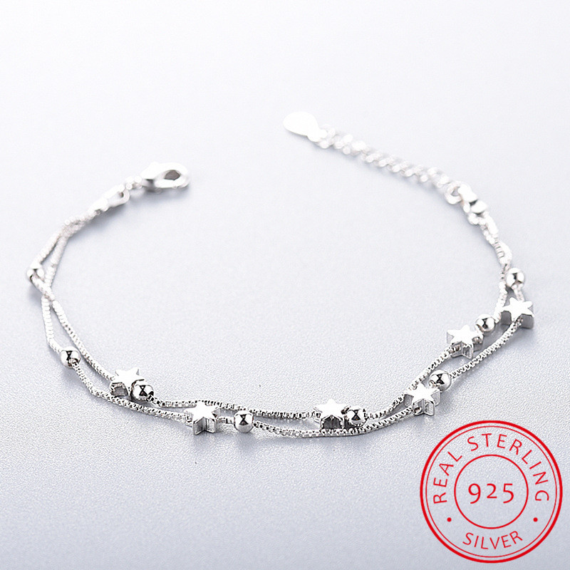 925 Sterling Silver Star Bracelets & Bangles New Fashion Silver Double Layer Chain Bracelet For Women sterling-silver-jewelry