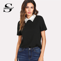 Sheinside Black Pearl Embellished Contrast Collar Tee Solid Button Beaded Top 2018 Summer Women OL Work