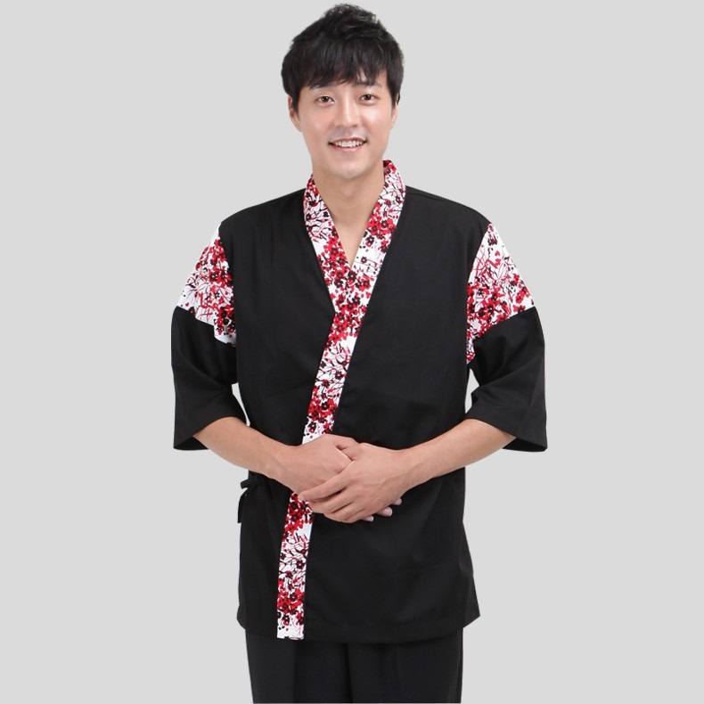 (10)Korean Chef's Work Wear Japanese Waiter Overalls Restaurant Uniform Kimono For Men And Women Serving Sushi Clothing