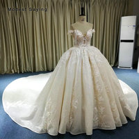 Luxury Ivory Royal Ball Gown Sparkle Wedding Dresses 2019 with Champagne Lining Cathedral Train Sexy Sweetheart Lace Bridal Gown