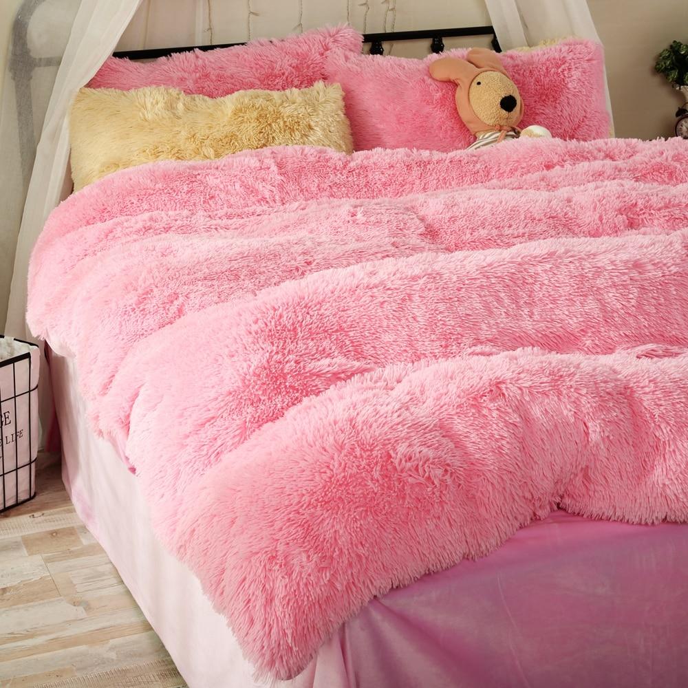 soft pink fleece duvet cover set queen size girls bedding duvet cover solid color bed sheets pillow case winter flannel bedding