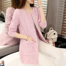 2017 new spring female knitted cardigan Korean women in the long thick loose sweater coat pocket girl