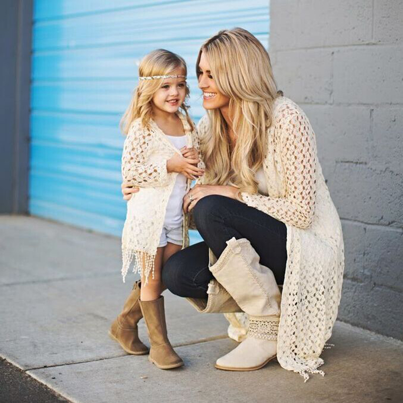 Mother And Daughter Matching Clothes Summer Crochet Coat Lace Tassels Holiday Top Boho Beach Kimono Cardigan Women Girls Outfits