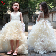 2016 Charming Flower Girls Dress For Weddings High Low Ruffles Princess Party Girls Pageant First Communion Dress For Kids Teens