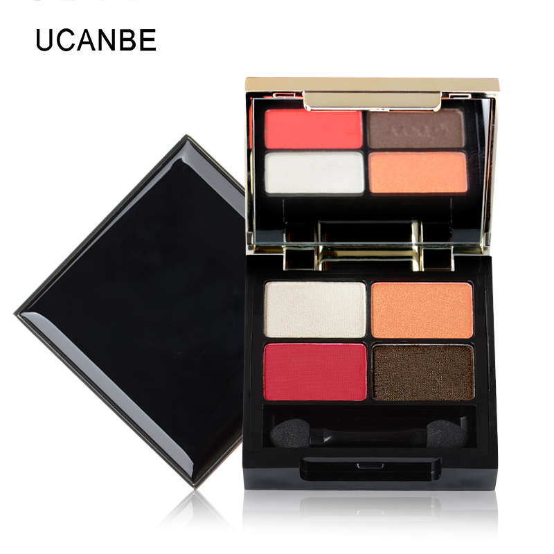 UCANBE Brand Pro Fashion Brick Red Eyeshadow Makeup Glamorous Smoky Nude 4 Color Matte Velvet Eye Shadow Palette with Mirror