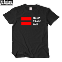 Coldplay Fans T Shirts Chris Martin Make Trade Fair Short Sleeve T Shirt Mens Cotton Good