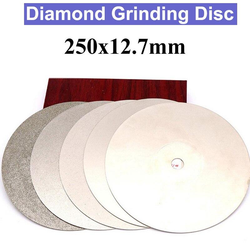 цена на URANN 1PC 10 inch 250x12.7mm Diamond Coated Flat Lap Wheel Lapidary Polishing Grinding Disc 80 180 320 Grit