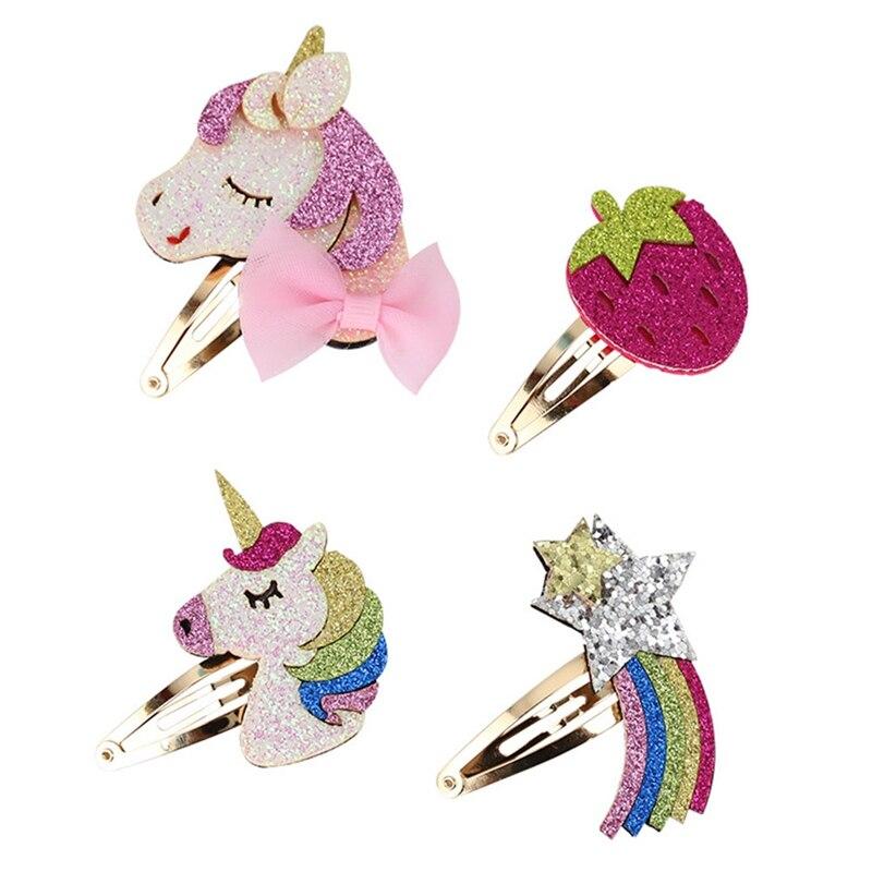 1 Pcs/lot Metallic Glitter Rainbow Snap Hair Clips Rose Color Felt Strawberry Kid Hairpin Pink Fairy Girls Unicorn Hair Barrette