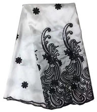 White black Sequined African George Lace Fabric With Blouse For Indian  Women Dress Embroidery Gold Line 294f57218d67