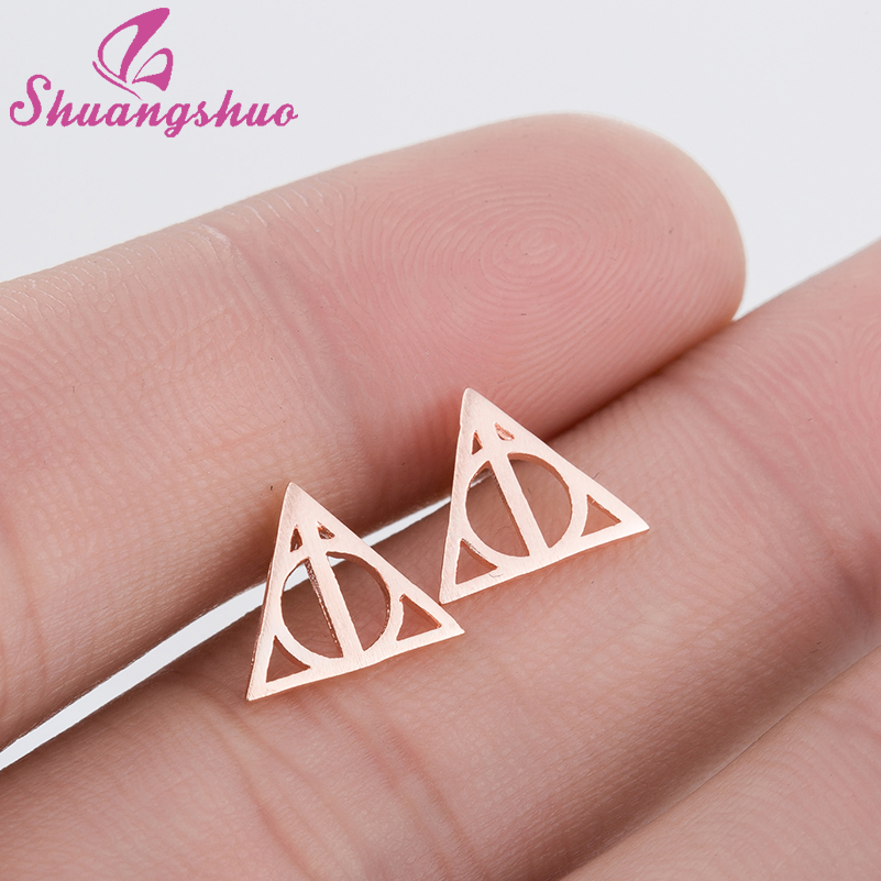 Shuangshuo New Tiny Halloween Earrings Deathly Hallows Stud Earrings For Women Gold Small Hogwarts Jewelry Valentines Day Gift