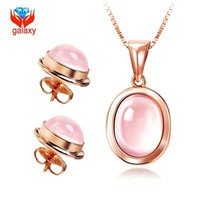 YANHUI Trendy Luxury 925 Silver Natural Rose Quartz Crystal Pendant Necklace Earrings Set For Women Fashion