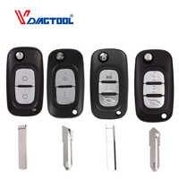 VDIAGTOOL Uncut Blade Remote Flip Folding Car Key Shell Case for Renault 2 3 Buttons Uncut Blade Car Key Cover