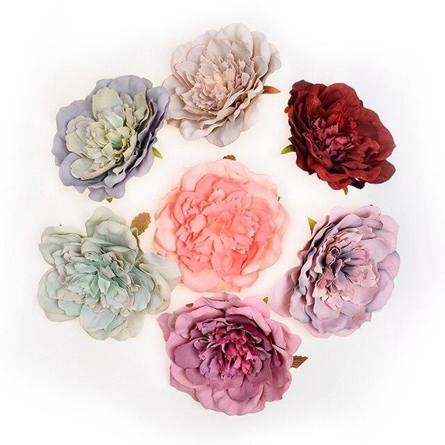 1 шт. 10 см Искусственный шелк Пион цветок голова для свадьбы домашняя вечерние украшения DIY цветок стены Подарочная коробка Скрапбукинг процесс
