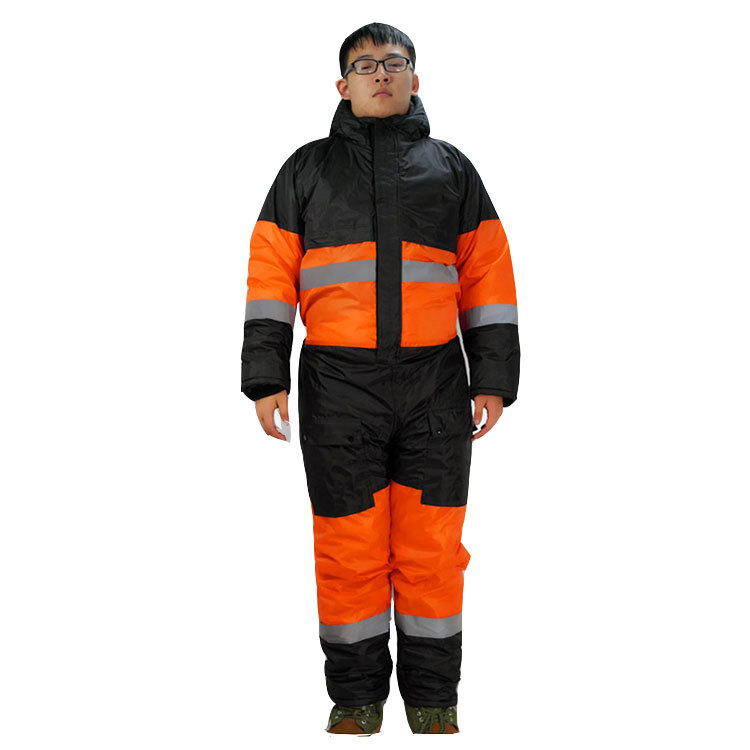 Winter Coveralls Men Waterproof Windproof Bib Overalls Cotton Padded Hooded Jumpsuits Thicken Thermal Work Uniforms HW117