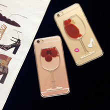 Soft TPU with Liquid Red Wine Clear Transparent Phone Case back Cover For iPhone 5,5S,SE,6,6S,6plus,6Splus,7 luxury bag cases