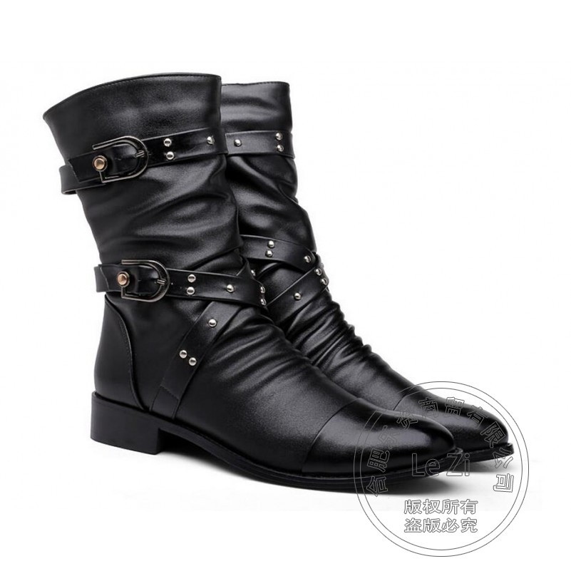 ФОТО Belt New Arrival Personality Youth Sequined Studs Plus Velvet Patchwork Funky Wrinkle Pointy Safety Mens Boots Men Low Heeled