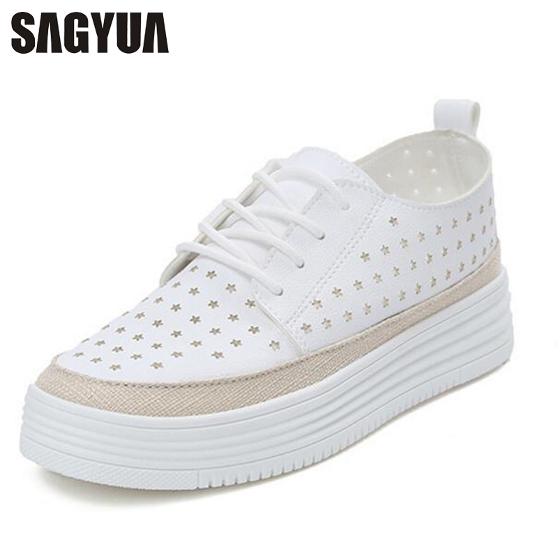 SAGYUA Young Students Lady Girlish Lace-Up Round Toe Women Zapatos Mujer Casual Female Thick Bottom Flat Board Walks Shoes T208