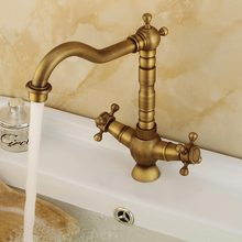 Toilet Luxury Brass Bathroom Basin Kitchen Sink Faucet Double Handle Hot And Cold Water Mixing Sitting Basin Faucets 60131F azos split faucetsoft basin brass orb cold and hot switch rotatable bathroom below counter basin balcony double handle three hol