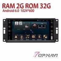 Автомобильные Радио тюнер для Jeep Универсальный 7 ''Android 6.0 topnavi Авто Автомобильные GPS навигаторы Навигационная медиа ram2g Бесплатная Географич