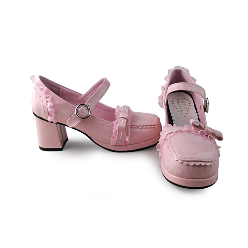 ФОТО Japanese Lolita Girls Square High Heel Shoes Princess Lace Sweet Bow Round Toe Leather Platform Shoes